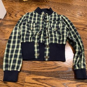 Jackets & Blazers - Navy blue and green striped jacket size Small